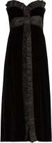 Miu Miu Bow-front strapless silk-faille trim velvet dress
