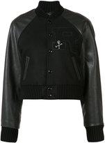R 13 cropped varsity jacket