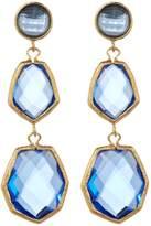 Rivka Friedman Triple Dangle Deco Design Faceted Poppy Blue Crystal Earrings