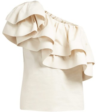 BEIGE Francoise - Ruffled One-shoulder Cotton Top - Womens