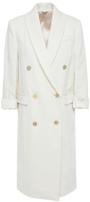 Brunello Cucinelli Double-breasted Bead-embellished Cotton And Linen-blend Coat