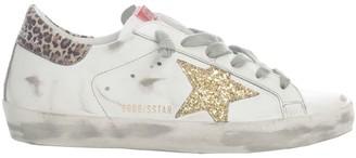 Golden Goose Superstar Leather Upper Glitter Star Leopard Suede Heel