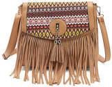 Angedanlia Women's Crossbodies LIGHT - Light Brown Geometric-Accent Fringe Tassel Crossbody Bag