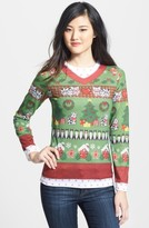 Women's Faux Real Cats Ugly Christmas Long Sleeve Novelty Tee