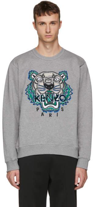 8755185c Grey Leopard Tiger Sweatshirt