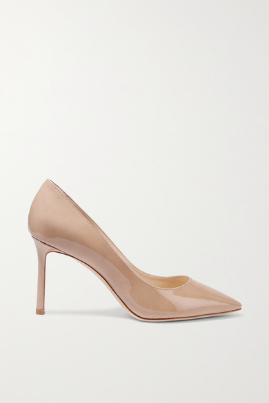 Jimmy Choo Romy 85 Patent-leather Pumps - Sand