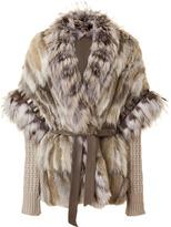 Roberto Cavalli Natural Fur and Knit Combo Jacket
