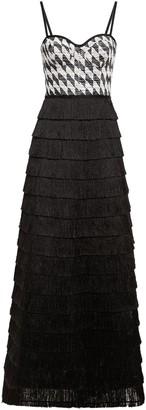 Missoni Boucle Knit-paneled Tiered Fringed Metallic Mesh Maxi Dress