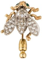 14K Two-Tone Diamond Insect Brooch Pin