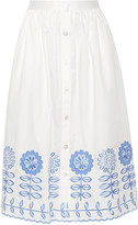 Temperley London Gilda embroidered cotton-poplin skirt