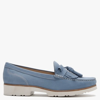 Daniel Glitto Blue Nubuck Leather Tassel Loafers
