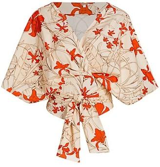 Johanna Ortiz Kimono-Sleeve Floral Wrap Top