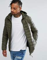 Pull&Bear Quilted Jacket With Hood In Khaki