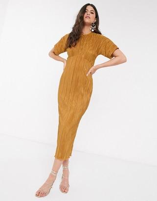 Closet London Closet midi plisse dress in mustard