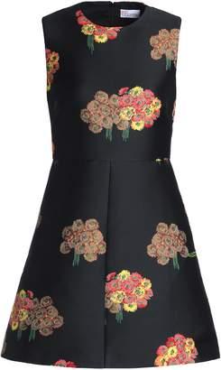 RED Valentino Flared Floral-jacquard Mini Dress