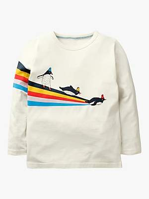 Boden Mini Boys' Arctic Stripe Long Sleeve T-Shirt, Ivory Penguins