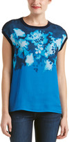 Magaschoni Silk & Cashmere Blend Printed Knit & Woven Sleeveless Sweater