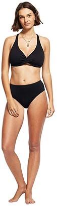 Seafolly Wrap Front F-Cup Bra (Black) Women's Swimwear