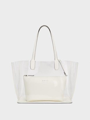 DKNY Women's Stadium Clear Tote With Pouch - Clear/White - Size N/S