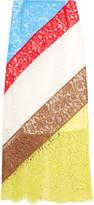 Preen by Thornton Bregazzi Willow striped lace midi skirt