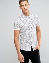 Asos Skinny Shirt In Doodle Print With Short Sleeves
