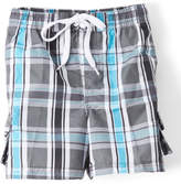 Kanu Surf Charcoal & Blue Plaid Paradigm Swim Trunks - Toddler & Boys