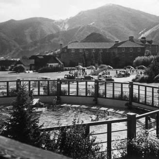 "Pool' Lantern Press ""Sun Valley, Idaho, View of Challenger Inn And Pool"" Print, 24""x36"""