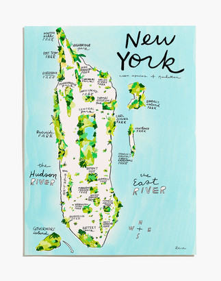 Madewell Good for the Bees New York Green Spaces Map Art Print