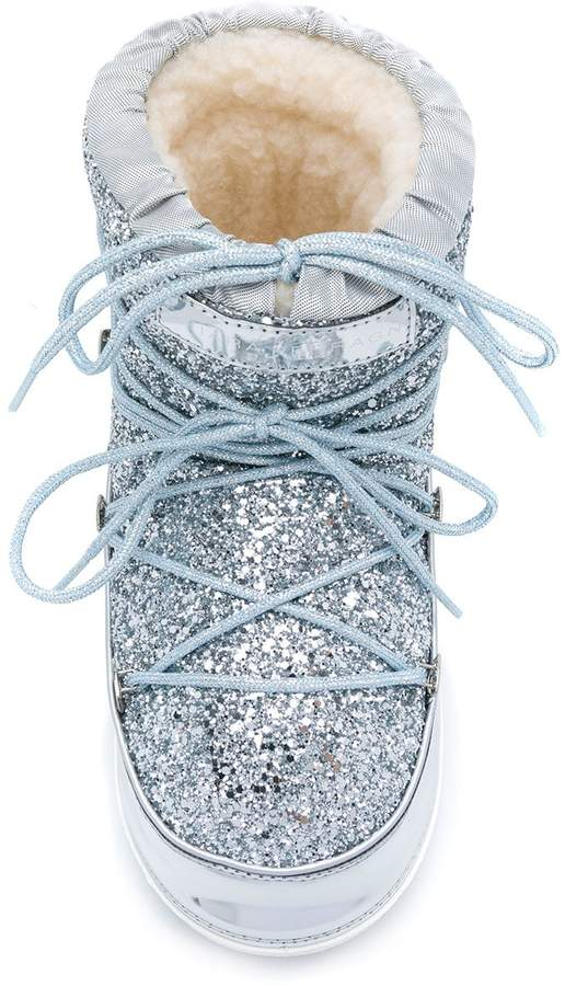 Chiara Ferragni glitter lace up snow boots
