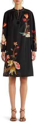 Etro Procida Floral Long Sleeve Silk Shift Dress