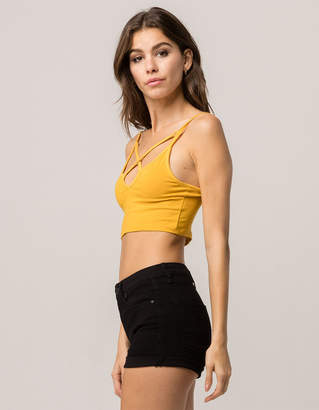 Ambiance Apparel AMBIANCE Cross Front Mustard Womens Crop Cami