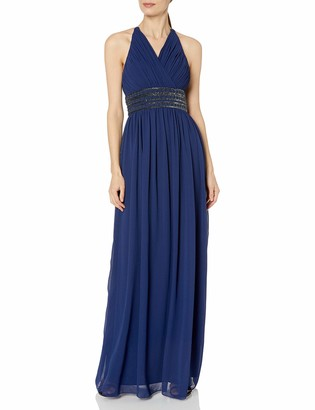 Aidan Mattox Aidan Women's Long Open Back Halter Gown with Rouched Bodice