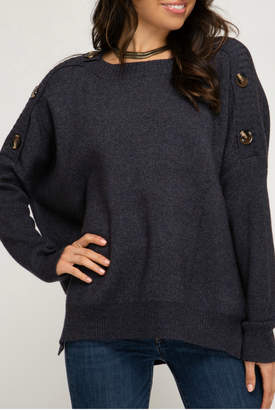 She + Sky HI LOW SWEATER TOP WITH SHOULDER BUTTON DETAILS