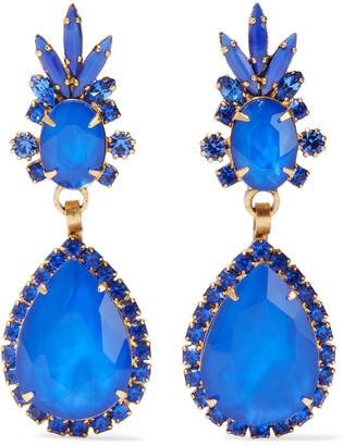 Elizabeth Cole Elina 24-karat Gold-plated, Swarovski Crystal And Stone Earrings
