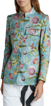 Dries Van Noten Flower Brocade Blazer, Blue