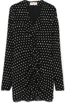 Saint Laurent Ruffled Polka-dot Crepe Mini Dress - Black