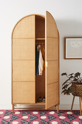 Anthropologie Wallace Cane and Oak Armoire By in Beige Size ALL
