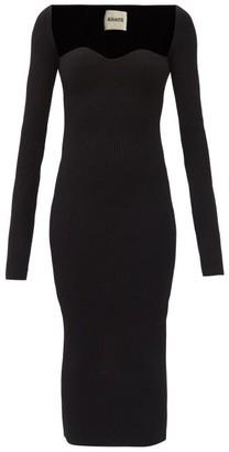 KHAITE Beth Sweetheart-neck Ribbed-knit Midi Dress - Black