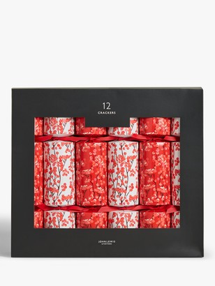John Lewis & Partners Art of Japan Berry Christmas Crackers, Pack of 12, Red