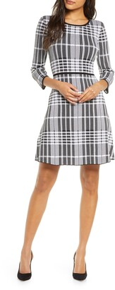 Donna Ricco Plaid Fit & Flare Sweater Dress