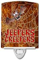 Caroline's Treasures SB3018CNL Jeepers Creepers with Bat and Spider Web Halloween Ceramic Night Light 6x4x3