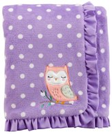 Carter's Baby Girl Embroidered Owl Dotted Ruffled Blanket