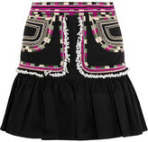 Isabel Marant Shad Embroidered Cotton-twill Mini Skirt - Black