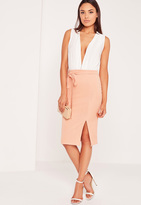 Missguided Tie Front Midi Skirt Pink