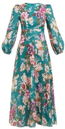 Zimmermann Allia Floral-print Linen Dress - Womens - Green