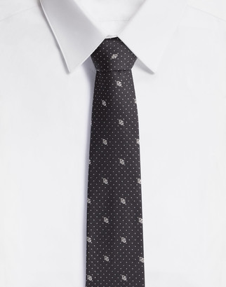 Dolce & Gabbana Silk Blade Tie With Polka-Dot Design And Logo (6 Cm)