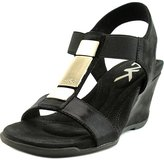 Anne Klein Loona Women US 7.5 Black Wedge Sandal