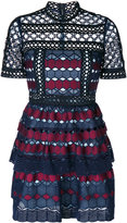 Self-Portrait geometric crochet dress - women - Polyester - 6