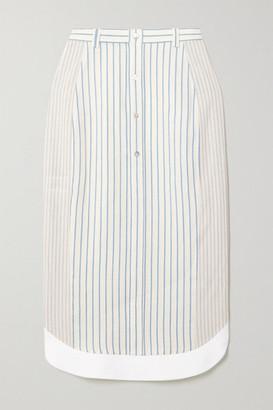 Altuzarra Garance Striped Cotton And Linen-blend Midi Skirt - White