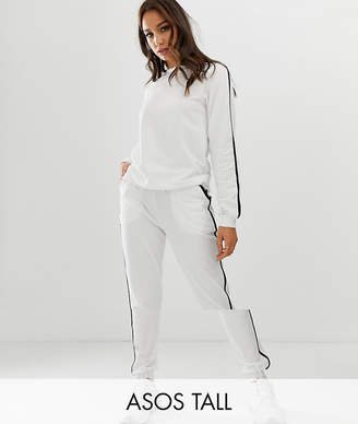 Asos Tall DESIGN Tall tracksuit sweat / basic jogger with tie with contrast binding-White
